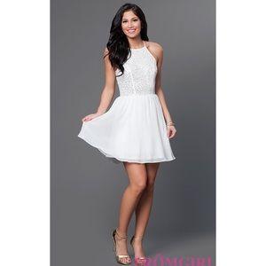White High Neck Formal Dress